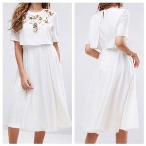 White Embellished Crop Midi Dress